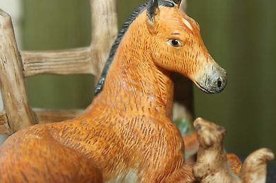 HOMCO BISQUE PORCELAIN FOAL w/SQUIRREL #1461