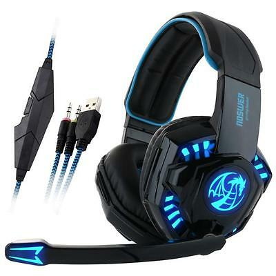 Professional Gaming Headphone USB Vibration Game Headset with Mic LED Light Lot