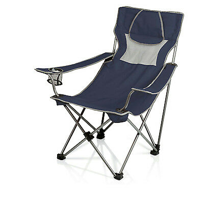 Picnic Time Folding Portable Campsite Chair, Navy/Grey