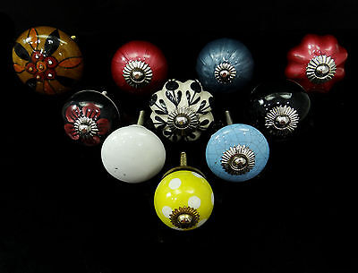 Vintage Multicolor Knob Unique Cabinet Knobs Ceramic Drawer Pull Lot of 10 Pcs