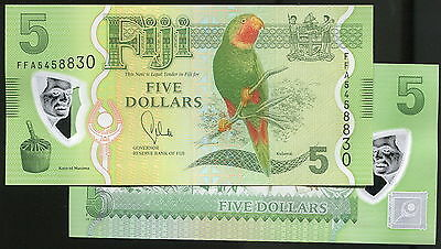 "FIJI 5 Dollar One Banknote,Pacific Bird,GEM UNC""CONSECUTIVE NUMBER""BEST+LowPrice"