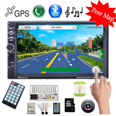 HD 7''Touch Bluetooth Car MP3 MP5 Player Radio Stereo GPS/USB/Remote 2DIN+8G TF