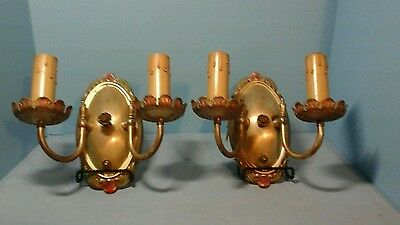 Vintage Pair Of Wall Lights Double Candle Like Knob Complete Wth Connector