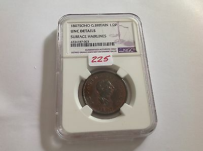 1807SOHO Great Britain Half Penny NGC UNC Details Surface Hairlines