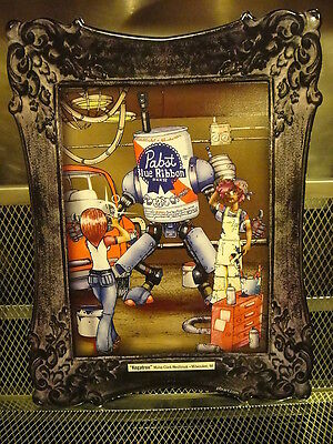 PBR PABST BLUE RIBBON Art 2012 ~ Kegatron Robot ~ Beer Tacker Sign + BONUS MERCH