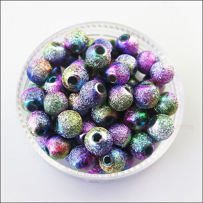 500Pcs Colored Acrylic Plastic Round Ball Spacer Beads Charms DIY 4mm