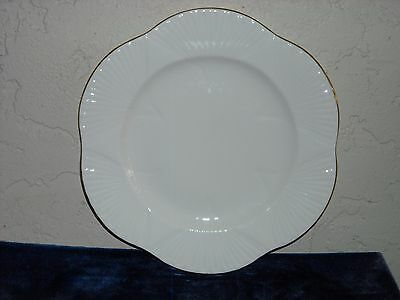 Shelley Regency Dainty White Dinner Plate with Gold Trim