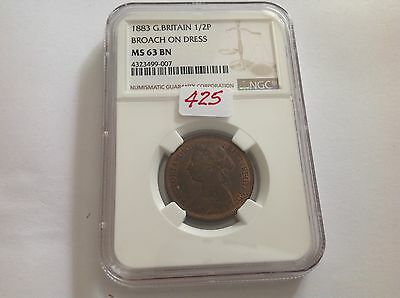 1883 Great Britain Half Penny Broach on Dress NGC MS 63 Brown