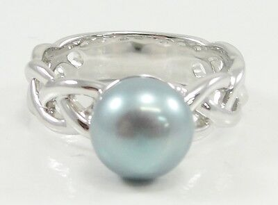 Honora Sterling Silver Teal Cultured Freshwater 9mm Pearl Ring Size 9