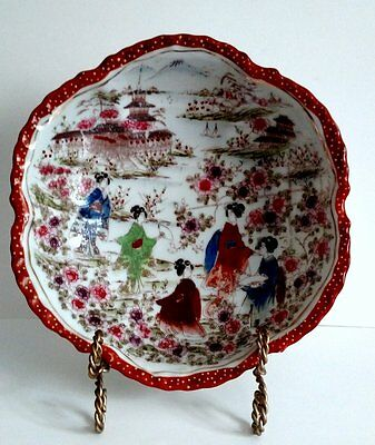 Antique Hand Painted Asian Geisha Girl Serving Bowl- EARLY 1900's