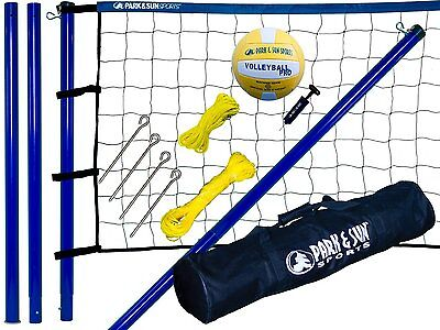 Park & Sun Spiker Sport Steel Poles Volleyball Set with Blue Net / S-Sport-Stl