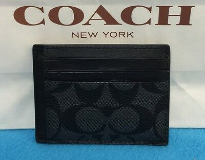 New Coach Men's Signature Pvc/leather  Id Card Case  Charcoal/black F75027 $75