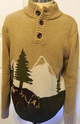 Gymboree Mountain Grizzly Bear Child Long Sleeve Sweater Pullover   MED 7/8