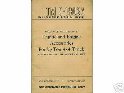 Willys MB GPW JEEP Engine Manual TM 9-1803A