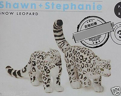 New Original wild animal 2pcs/lot snow leopard collectible figures ABS figurine