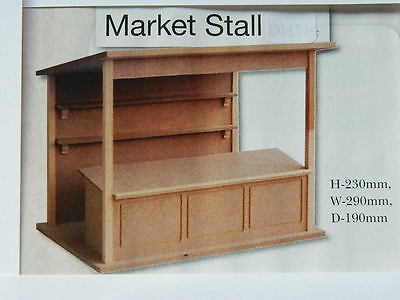 (M2.12) Dolls House Mdf 1/12Th Flat Packed Market Stall