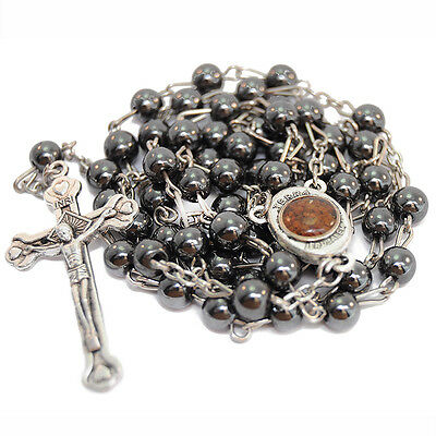 Hematite Rosary Beads with Crucifix and Holy Earth from Jerusalem Terra Santa