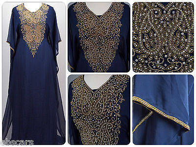 Gold on Navy Heavy Detailed Farasha Kaftan Maxi Dress Gown Wedding Eid Party New
