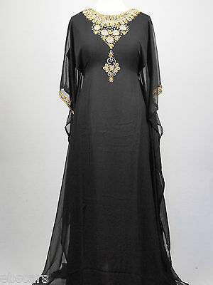 Eid Special Black and Gold Farasha with All Over Back Detail Kaftan Jilbab Dress