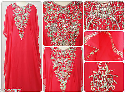 Coral & Silver Crystal Diamante Back Detail Farasha Maxi Dress Kaftan Abaya New