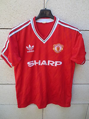 VINTAGE Maillot MANCHESTER UNITED ADIDAS shirt jersey 1986 1988 SHARP football M