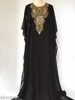 Black & Gold with Back Detail Farasha Maxi Gown Kaftan Abaya Jalaybia EID Dress