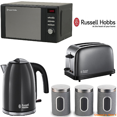 Grey Russell Hobbs Microwave Kettle Toaster Set + Tea, Coffee & Sugar Canisters