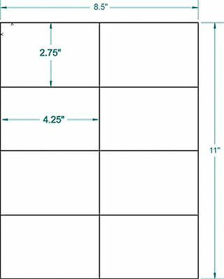 Blank Labels 4.25 X 2.75 25 White Sheets X 8 Per Page = 200 Labels
