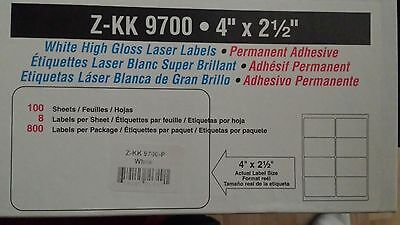 """White Labels 25 Sheets X 8 Per Page = 200 Labels Size 4"""" X 2.5"""" (High Gloss)"""