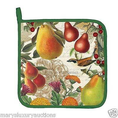 """Michel Works """"Golden Pear"""" Cotton Kitchen Potholder 9""""x9"""" with Hanging Loop New"""