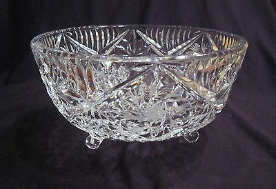 Lovely Vintage Footed Pinwheel Crystal Bowl