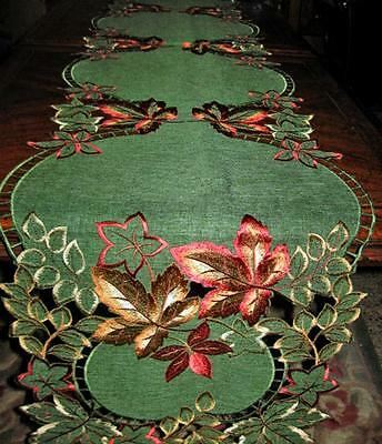 """Thanksgiving Fall decor Sage Green Embroidered Autumn Leaves Table Runner 69""""x13"""