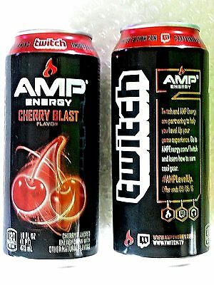 2016 FULL USA Can 16 oz AMP ENERGY DRINK TWITCH  CHERRY BLAST  LIMITED  EDITION