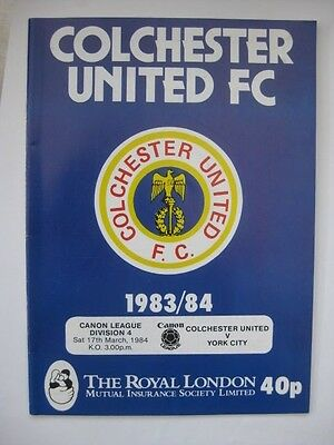 Colchester United v York City 1983/84 Programme
