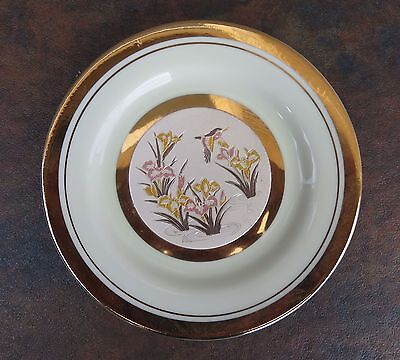 The Art of Chokin Collector Plate Flowers and Hummingbird