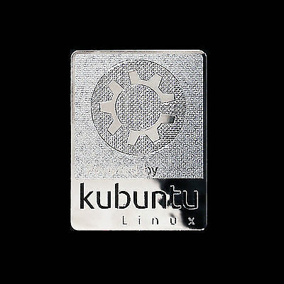 Powered by Kubuntu Linux Metal Decal Sticker Case Computer PC Laptop Badge