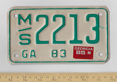1983-1985 Georgia Motorcycle License Plate #ms 2213
