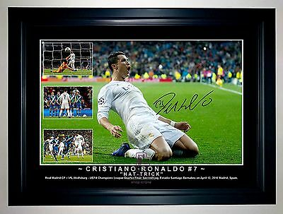 Cristiano Ronaldo 2016 Hat-Trick Real Madrid Soccer Framed Signed Photo Collage