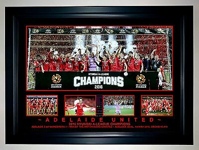 ADELAIDE UNITED 2015/16 A-LEAGUE CHAMPIONS Soccer A3 Framed Photo Collage