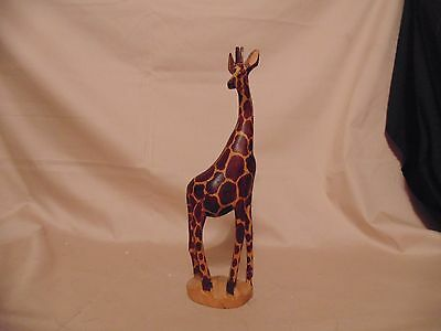 "Giraffe Figurine Wood Carved 12 1/4"" tall African Africa Mom & 3 Baby Giraffe's"