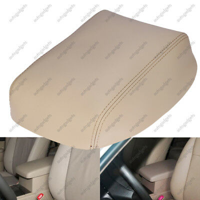 Fits 08-2013 Toyota Highlander Synthetic Leather Console Lid Armrest Cover-Beige