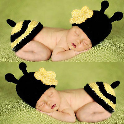 Newborn Baby Girls Boys Crochet Knit Costume Photo Photography Prop Outfits Bee
