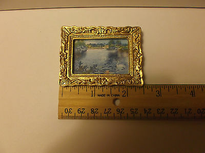 Miniature Doll House Painting In Gold Colored Frame