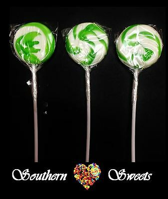 Green & White Swirl Lollipops Green & White Lollies 50Ct Lollypops Candy Buffet