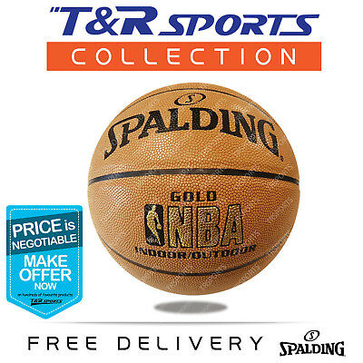 Size 6 Spalding Gold NBA Basketball Game Ball Indoor/Outdoor Free Postage