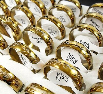 50pcs Gold 6MM Stainless Steel band rings Men's Wholesale Jewelry Job Lot