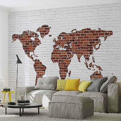 WALL MURAL Brick Wall World Map XXL PHOTO WALLPAPER (2853DC)