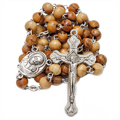 Olive wood Handmade Rosary beads Prayer Knot with Holy Soil from Jerusalem