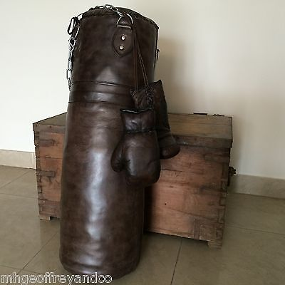 Vintage Dark Brown Leather | Boxing Gym Punch Bag and Boxing Gloves | Retro