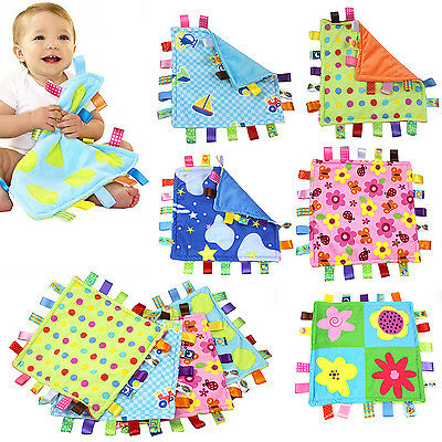 Baby Infant Educational Toy Colorful Label Grasping Towel Sleep Appease Blanket